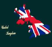 United Kingdom map vector with the english flag Royalty Free Stock Image