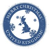 United Kingdom map. Vintage Merry Christmas. United Kingdom map. Vintage Merry Christmas United Kingdom Stamp. Stylised rubber stamp with county map and Merry vector illustration
