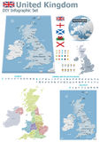 United Kingdom maps with markers Stock Photos