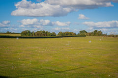 2016 United Kingdom Mersea golf field with a lot of balls on it royalty free stock photography