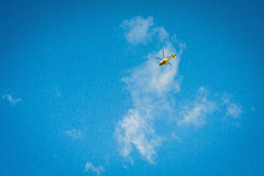 2016 United Kingdom Mersea Yellow helicopter, chopper on the sky royalty free stock images