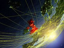 United Kingdom on model of planet Earth with network during sunrise. Concept of new technology, communication and travel. 3D. Illustration. Elements of this vector illustration