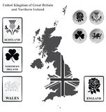 United Kingdom. Monochrome flag signs and icons of the United Kingdom of Great Britain and Northern Ireland overlaid on outline map isolated on white background Stock Images