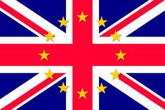 United Kingdom national flag with a star circle of EU Stock Photo