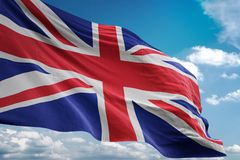 United Kingdom national flag waving blue sky background realistic 3d illustration royalty free illustration