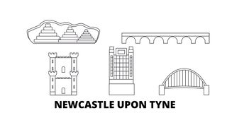 Free United Kingdom, Newcastle Upon Tyne Line Travel Skyline Set. United Kingdom, Newcastle Upon Tyne Outline City Vector Stock Photography - 144342332