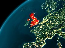 United Kingdom at night on Earth. Night map of United Kingdom as seen from space on planet Earth. 3D illustration. Elements of this image furnished by NASA Royalty Free Stock Photo