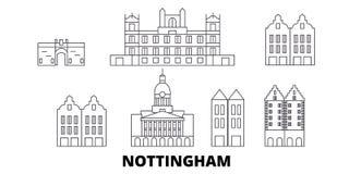United Kingdom, Nottingham line travel skyline set. United Kingdom, Nottingham outline city vector illustration, symbol stock illustration