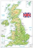 United Kingdom Physical Map with city names  on white. Vector illustration Royalty Free Stock Photo