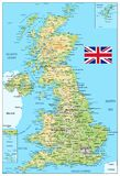 United Kingdom physical map Stock Photography