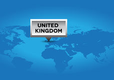United Kingdom pointer on world map Royalty Free Stock Images