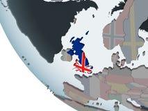 United Kingdom with flag on globe. United Kingdom on political globe with embedded flag. 3D illustration royalty free illustration