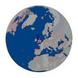 United Kingdom on political globe Stock Image