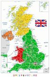 United Kingdom Political Map and flat map pointers. With roads and water objects. Vector illustration Royalty Free Stock Photos