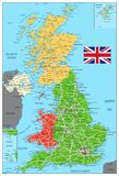 United Kingdom Political Map with roads. And water objects. Vector illustration Royalty Free Stock Photography