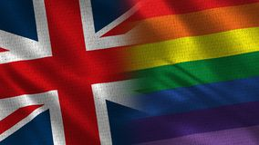 United Kingdom and Pride. Two Flag Together - Fabric Texture royalty free stock images