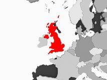 Map of United Kingdom. United Kingdom in red on grey political map with transparent oceans. 3D illustration royalty free illustration