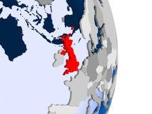 United Kingdom on globe. United Kingdom in red on model of political globe with transparent oceans. 3D illustration vector illustration