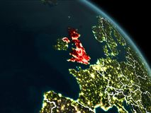 United Kingdom in red at night. United Kingdom from orbit of planet Earth at night with visible borderlines and city lights. 3D illustration. Elements of this Royalty Free Stock Photos