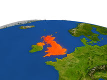 United Kingdom in red from orbit Royalty Free Stock Images