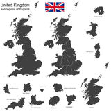 United Kingdom and regions of England Stock Photo