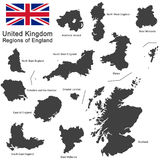 United Kingdom and regions of England Royalty Free Stock Images