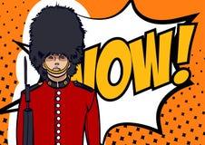 United Kingdom Related Costume. UK soldier, Britain symbol. Pop art style, wow, eps 10. United Kingdom Related Costume. UK soldier, Britain symbol. Pop art style Stock Photos