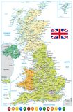 United Kingdom Road Map and Navigation Icons. Vector illustration Stock Photography