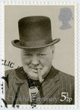 UNITED KINGDOM - 1974: shows Sir Winston Spencer Churchill (1874-1965), with bowler and cigar, 1940, politician Stock Photography