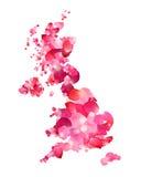 United Kingdom. Silhouette of UK map of rose petals. United Kingdom. Vector silhouette of UK map of rose petals royalty free illustration