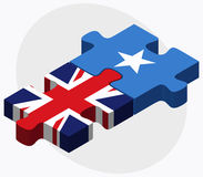 United Kingdom and Somalia Flags in puzzle isolated on white background Royalty Free Stock Image