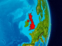 United Kingdom from space. Country of United Kingdom in red on planet Earth. 3D illustration. Elements of this image furnished by NASA Stock Images