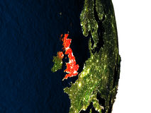 United Kingdom from space during dusk Royalty Free Stock Image