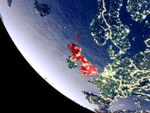 United Kingdom from space on Earth. Orbit view of United Kingdom at night with bright city lights. Very detailed plastic planet surface. 3D illustration vector illustration