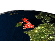 United Kingdom from space at night Royalty Free Stock Image