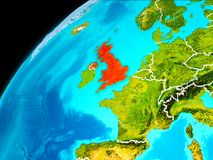United Kingdom from space. Orbit view of United Kingdom highlighted in red with visible borderlines on planet Earth. 3D illustration. Elements of this image Royalty Free Stock Photo