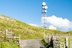 The united kingdom still uses flat parabola antennas in rural areas. Scotland Royalty Free Stock Photos