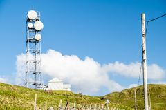 The united kingdom still uses flat parabola antennas in rural areas. Scotland Royalty Free Stock Image