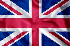 United Kingdom. Stylish waving and closeup flag illustration. Perfect for background or texture purposes stock illustration