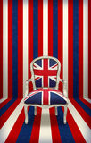 British flag luxury chair. Royal throne represented by british flag chair on grunge blue, red and white background stock photos