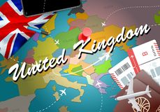 United Kingdom travel concept map background with planes,tickets. Visit United Kingdom travel and tourism destination concept. Un. Ited Kingdom flag on map stock illustration