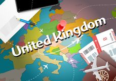 United Kingdom travel concept map background with planes,tickets. Visit United Kingdom travel and tourism destination concept. Un. Ited Kingdom flag on map vector illustration