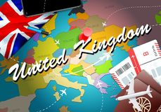 United Kingdom travel concept map background with planes,tickets. Visit United Kingdom travel and tourism destination concept. United Kingdom flag on map stock illustration