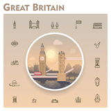 United Kingdom travel icon set Royalty Free Stock Photo