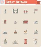 United Kingdom travel icon set Royalty Free Stock Image