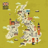 United Kingdom travel map Royalty Free Stock Photos