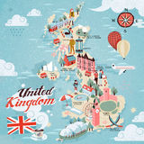 United Kingdom travel map. Attractive United Kingdom travel map with attractions Stock Images