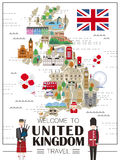 United Kingdom travel map. Lovely United Kingdom travel map with attractions Stock Photo