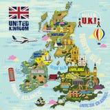United Kingdom travel map Stock Photo