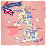 United Kingdom travel map. Lovely United Kingdom travel map design with attractions Stock Image